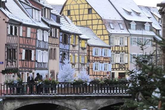 Maisons à colombages en hiver © OT Colmar