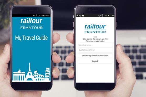 """Mit der railtour-Frantour App """"My Travel Guide"""" haben Sie Ihr Reiseprogramm, Kontaktangaben und bei den meisten Destinationen sogar Ihren Reiseführer immer dabei."""