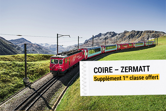 Le grand classique des trains panoramiques suisses – offres pour les clients domiciliés hors de Suisse.
